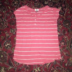 Old Navy coral and white striped tee